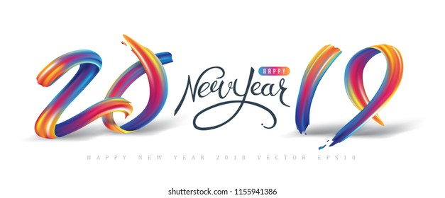 2019  New Year calligraphy with colorful brushstroke oil or acrylic paint design element for greeting card, flyers, leaflets, postcards and posters. Vector illustration.