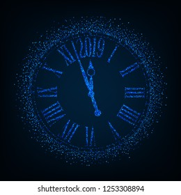 2019 New Year card with classic clock on blue background with copy space,illustration EPS10.
