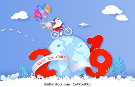 2019 New Year card design. Santa Claus and funny pig riding a bike over globe Earth on blue background. Vector paper cut art illustration for promotion banners, headers, posters, stickers