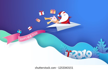 2019 New Year card design. Santa Claus and funny pig fluing on paper airplane on blue background. Vector paper cut art illustration for promotion banners, headers, posters, stickers