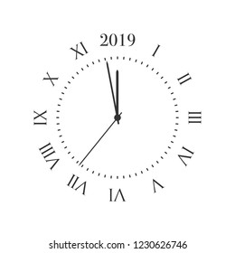 2019 New Year clock. Round retro clock with Roman numbers, and 2019 midnight numbers.