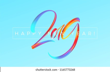 2019 New Year colorful brushstroke oil or acrylic paint design element on blue background. Vector illustration EPS10