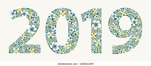 2019 New Year colorful flowers design element