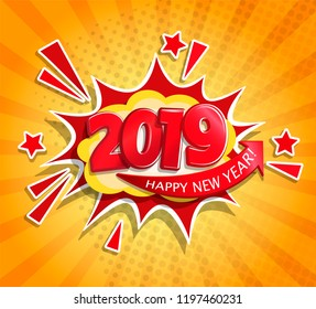 2019 New Year Comic Boom card in retro pop art style on sunburst background.Christmas comic text speech bubble.Halftone vector banner, greetings card, flyers, invitation, posters, brochure, calendars.