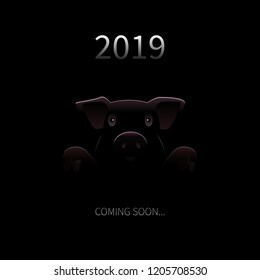 2019 New Year Coming Soon Background. Vector Greeting Card with Pig Silhouette and text in Darknes. Funny Festive Background for New Year. Vector Creative Illustration.