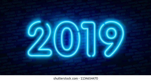 2019 New Year Concept with Colorful Neon Lights. Retro Design Elements for Presentations, Flyers, Leaflets, Posters or Postcards. Vector Illustration