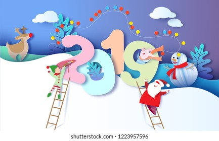 2019 New Year design card with Santa Claus, Snowman, Reindeer and elf on blue sky background. Vector illustration. Paper cut and craft style.