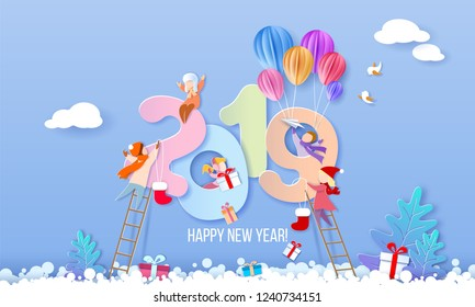 2019 New Year design card with kids on blue winter background. Vector illustration. Paper cut and craft style.