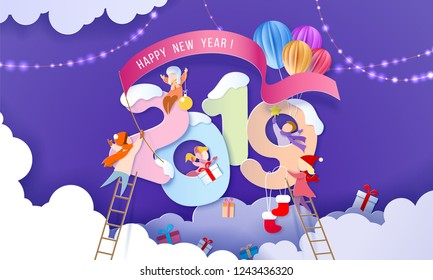2019 New Year design card with children over big digits on purple background. Vector illustration. Paper cut and craft style.