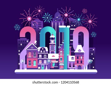 2019 New Year Eve card with europe winter night city and fireworks. Snowy Christmas street flat landscape with colorful european houses and New Year decorations.
