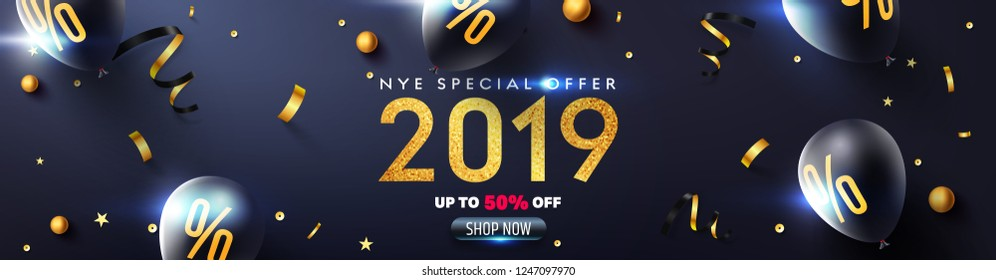 2019 New year eve Promotion Poster or banner with glitter texture,black balloons, golden ribbon and confetti.Promotion or shopping template for Christmas in golden and black style.Vector EPS10