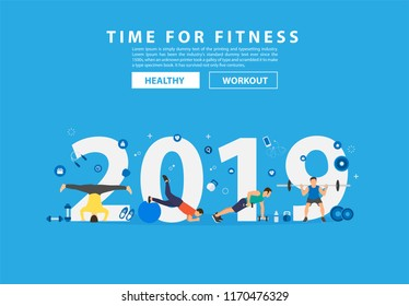 2019 new year fitness concept workout with equipment. Vector illustration modern layout template flat design