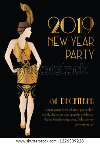 2019 new year gatsby art deco style party invitation design with girl