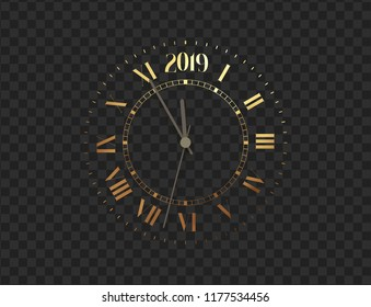 2019 New Year gold clock, five minutes to midnight. Merry Christmas. Watch isolated on transparent background