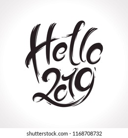 2019 New Year handwritten lettering greeting card made in black and white style.Vector illustration