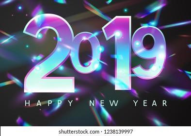 2019 New Year holographic falling confetti background. Rainbow iridescent holiday greeting card. Vector festive design with foil hologram tinsel, bokeh light effect and glare glitter.