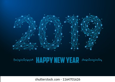 2019 New Year illustration made by points and lines, polygonal wireframe mesh on night sky, dark blue background. Vector.