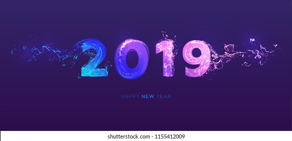 2019 new year lettering with glow neon color dynamic fluid effect. Retro futurism style holiday design. Eps10 vector illustration