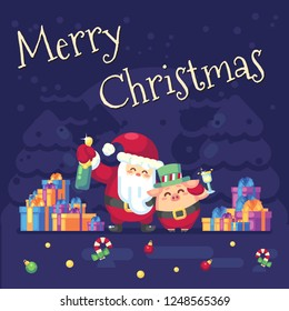 2019 New year Merry Christmas symbol. Santa Claus with champagne, glass, toast gifts, Christmas trees candy, sweets and symbols 2019 pig. Decoration of poster card holiday background. Vector flat
