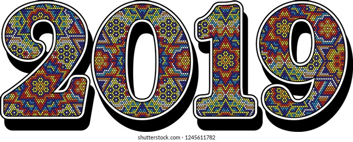 2019 new year numbers with colorful mexican huichol art style isolated on white