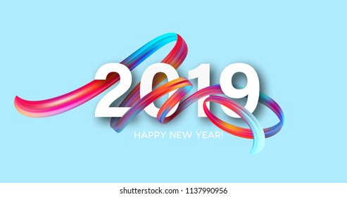 2019 New Year on the background of a colorful brushstroke oil or acrylic paint design element. Vector illustration EPS10