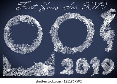 2019 New Year on ice frosted background. Eps8. RGB. Global colors. One editable gradient is used for easy recolor