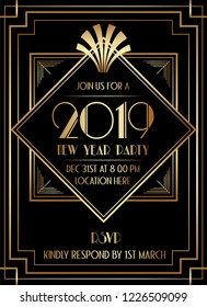 2019 New Year Party Art Deco Style Invitation Design