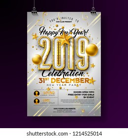 67ac4169e2f 2019 New Year Party Celebration Poster Template Illustration with Lights  Bulb Number and Gold Christmas Ball