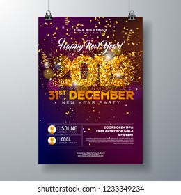 2019 New Year Party Celebration Poster Template illustration with Gold Glittered Number and Falling Colorful Confetti on Shiny Background. Vector Holiday Premium Invitation Flyer or Promo Banner.