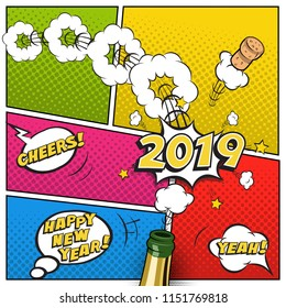 2019 New Year postcard or greeting card template. Vector 2019 New Year retro design in comic book style with champagne bottle.