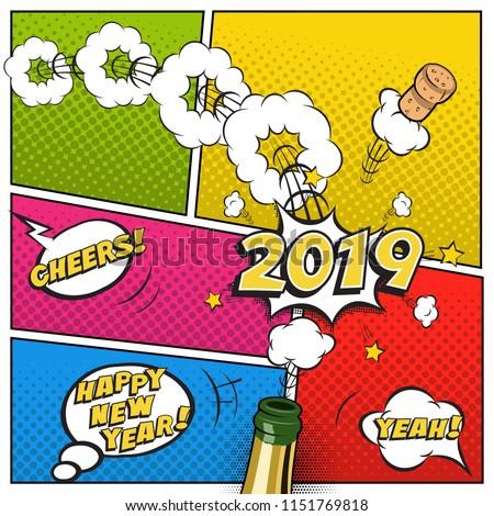 2019 new year postcard greeting card のベクター画像素材
