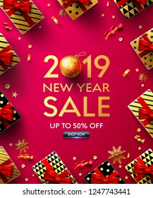 2019 New Year Sale Poster with golden gift box,ribbon and christmas decoration elements for Retail, Shopping or Christmas and new year Promotion in golden and red style.Vector EPS10