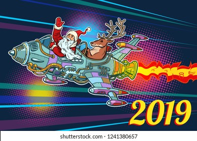 2019 new year. Santa Claus with a deer flying on a rocket. Pop art retro vector illustration vintage kitsch
