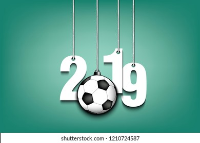 2019 New Year and soccer ball as a Christmas decorations hanging on strings. 2019 hang on cords on an isolated green background. Design pattern for greeting card. Vector illustration