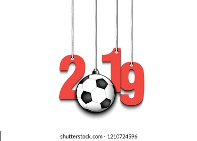 2019 New Year and soccer ball as a Christmas decorations hanging on strings. 2019 hang on cords on an isolated white background. Design pattern for greeting card. Vector illustration