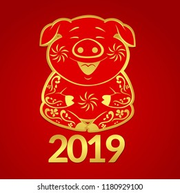 2019 new year symbol, vector illustration