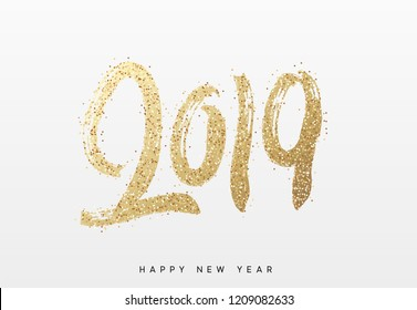 2019 New Year. Text golden with bright sparkles.