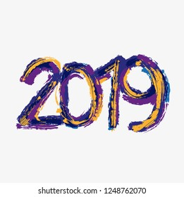 2019 New Year. Text hand draw.