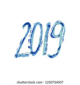 2019 New Year. Text hand draw. Grange
