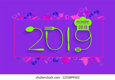 2019 new year text made number with spoon and fork creative food design, with vegetables background, Vector illustration modern layout template