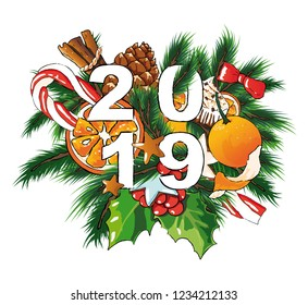 2019 New year vector editable illustration. Sweets background