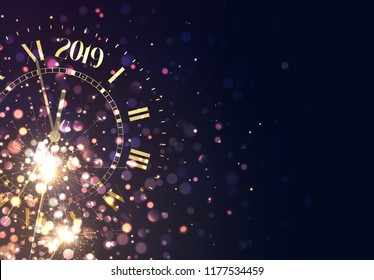 2019 New Years background vintage gold shining clock report time five minutes to midnight. Merry Christmas, banner, poster. Holiday vector illustration