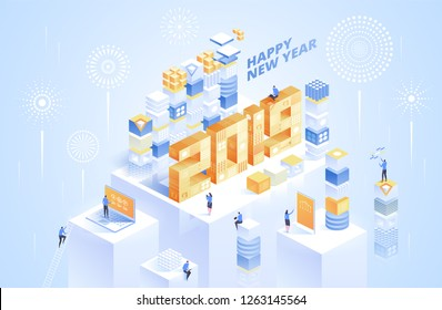 2019 number with blocks and place for text. Year of opportunities in virtual reality technology. Isometric vector illustration for online service advertisement.