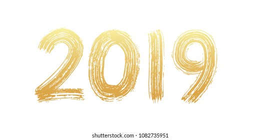2019 numeral text hand lettering. Dry brush texture effect. Happy New Year. Merry Christmas. Graduation. Design template Celebration typography poster, banner or greeting card. Vector Illustration