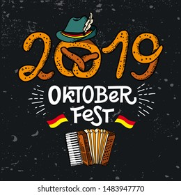 2019 Oktoberfest. Vector flat color illustration for German beer festival in Munich. Hand Drawn Lettering with accordion with Tyrolean hat, pretzel and german flag. Cracks can be removed