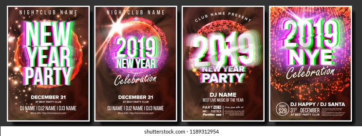 2019 Party Flyer Poster Set Vector. Night Club Celebration. Musical Concert Banner. New Year. Celebration Template. Winter Background. Disco Light. Design Illustration