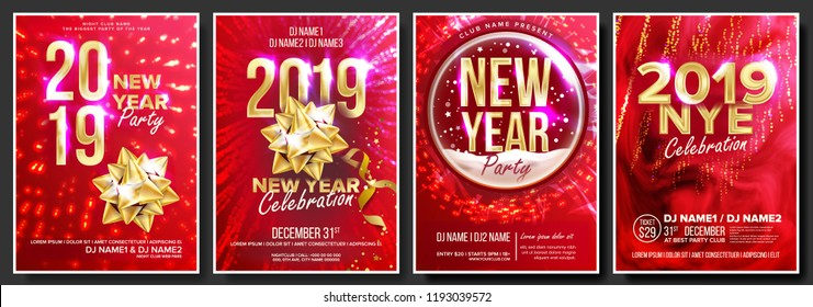 2019 Party Flyer Poster Set Vector. Night Club Celebration. Musical Concert Banner. Happy New Year. Celebration Template. Winter Background. Christmas Disco Light. Design Illustration