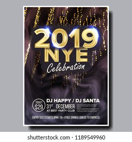 2019 Party Flyer Poster Vector. Happy New Year. Celebration Template. Winter Background. Design Illustration