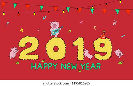 2019 pig year, pigs party happy new year on red background.