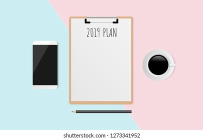 2019 PLAN text on white paper with pencil, coffee cup and smart phone on pastel background. Vector illustration